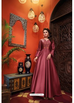 Wine Heavy Soft Silk Party Wear Gown