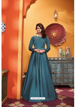 Teal Blue Heavy Soft Silk Party Wear Gown