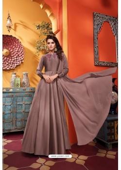 Beige Heavy Soft Silk Party Wear Gown