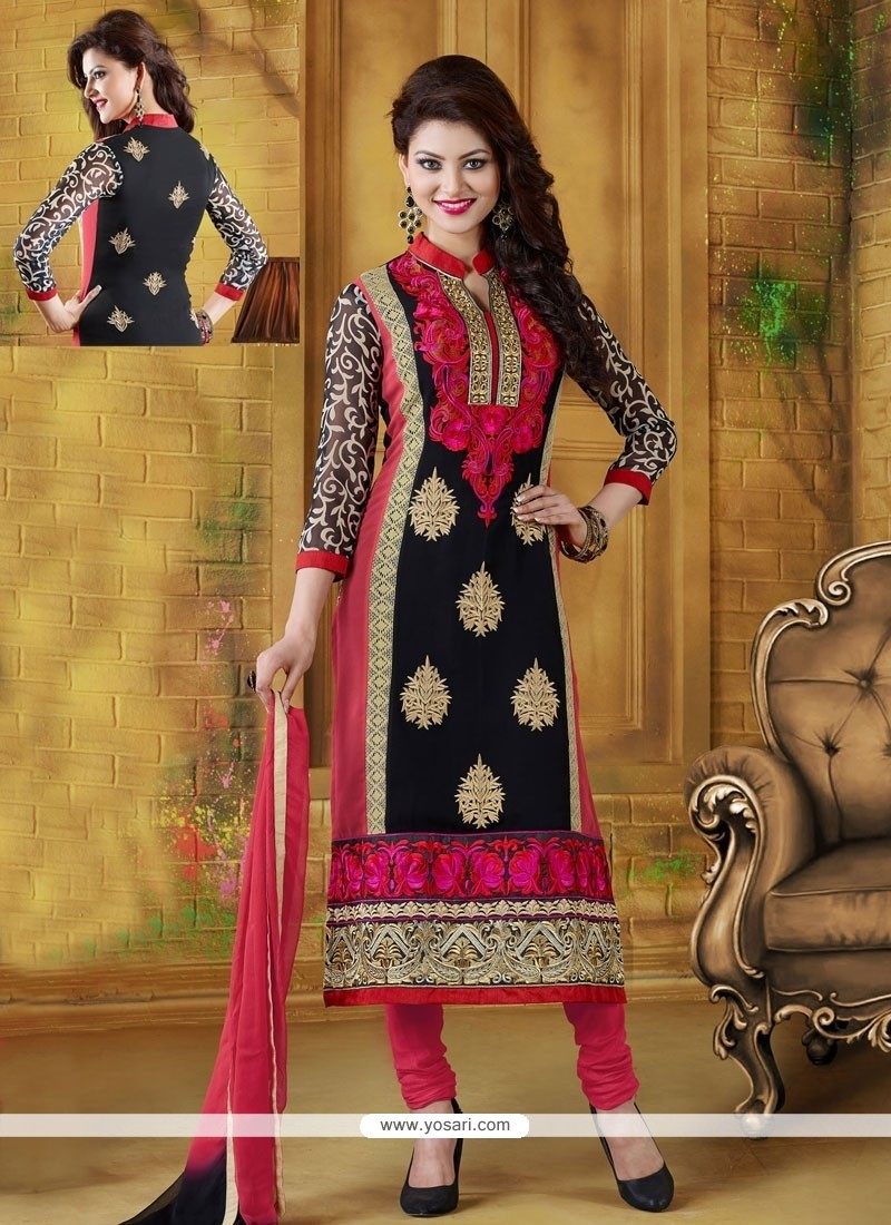 Black And Red Georgette Churidar Suit