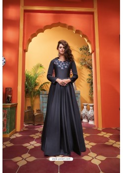 Black Heavy Soft Silk Party Wear Gown
