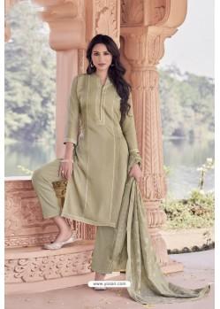 Beige Designer Viscose Muslin Casual Wear Salwar Suit