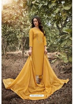Yellow Heavy Muslin Designer Straight Suit