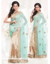 Exceptional Faux Chiffon Off White And Turquoise Half N Half Designer Saree
