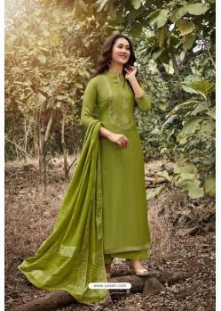 Forest Green Heavy Muslin Designer Straight Suit