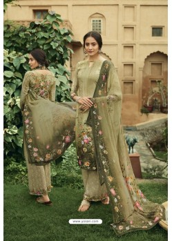 Olive Green Digital Printed Heavy Sorer Crepe Palazzo Suit