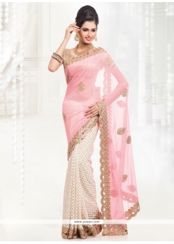 Affectionate Faux Chiffon Hot Pink And Off White Half N Half Saree