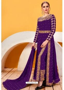 Violet Faux Georgette Heavy Designer Suit