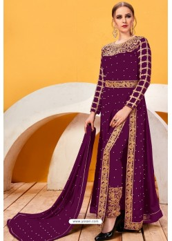 Purple Faux Georgette Heavy Designer Suit