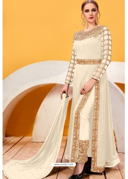 Off White Faux Georgette Heavy Designer Suit