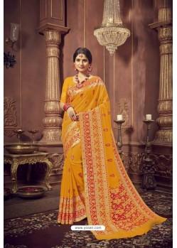 Yellow Designer Jacquard Work Dola Silk Saree