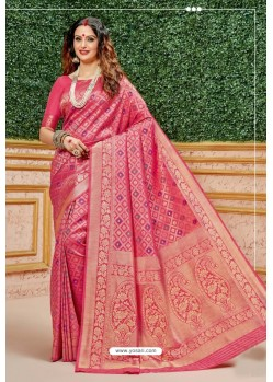 Rani Pink Designer Dola Silk With Meenakari Silk Saree