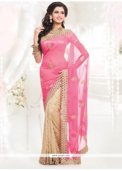 Talismanic Cream And Hot Pink Zari Work Faux Chiffon Half N Half Saree