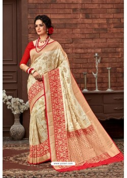 Off White Latest Designer Dola Silk Saree