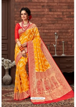 Yellow Latest Designer Dola Silk Saree