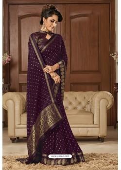 Purple Latest Party Wear Chiffon Weaving Worked Saree