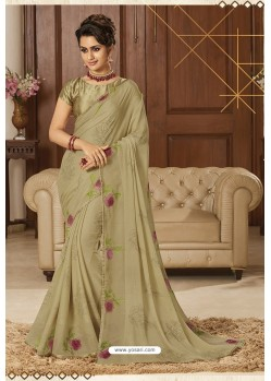 Beige Latest Party Wear Chiffon Printed Saree