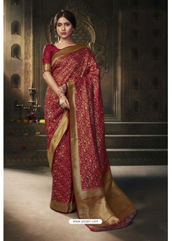 Maroon Traditional Wear Designer Banarasi Silk Saree