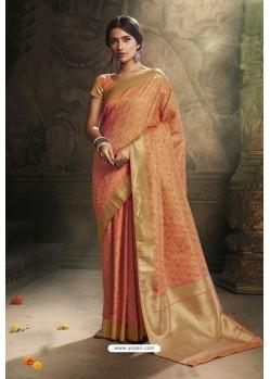 Light Orange Traditional Wear Designer Banarasi Silk Saree
