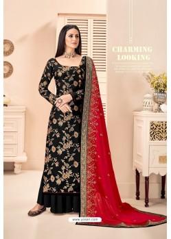 Black Pure Silk Jacquard Designer Palazzo Suit