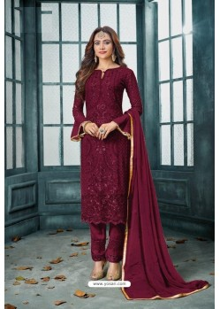 Maroon Latest Heavy Faux Georgette Designer Straight Suit