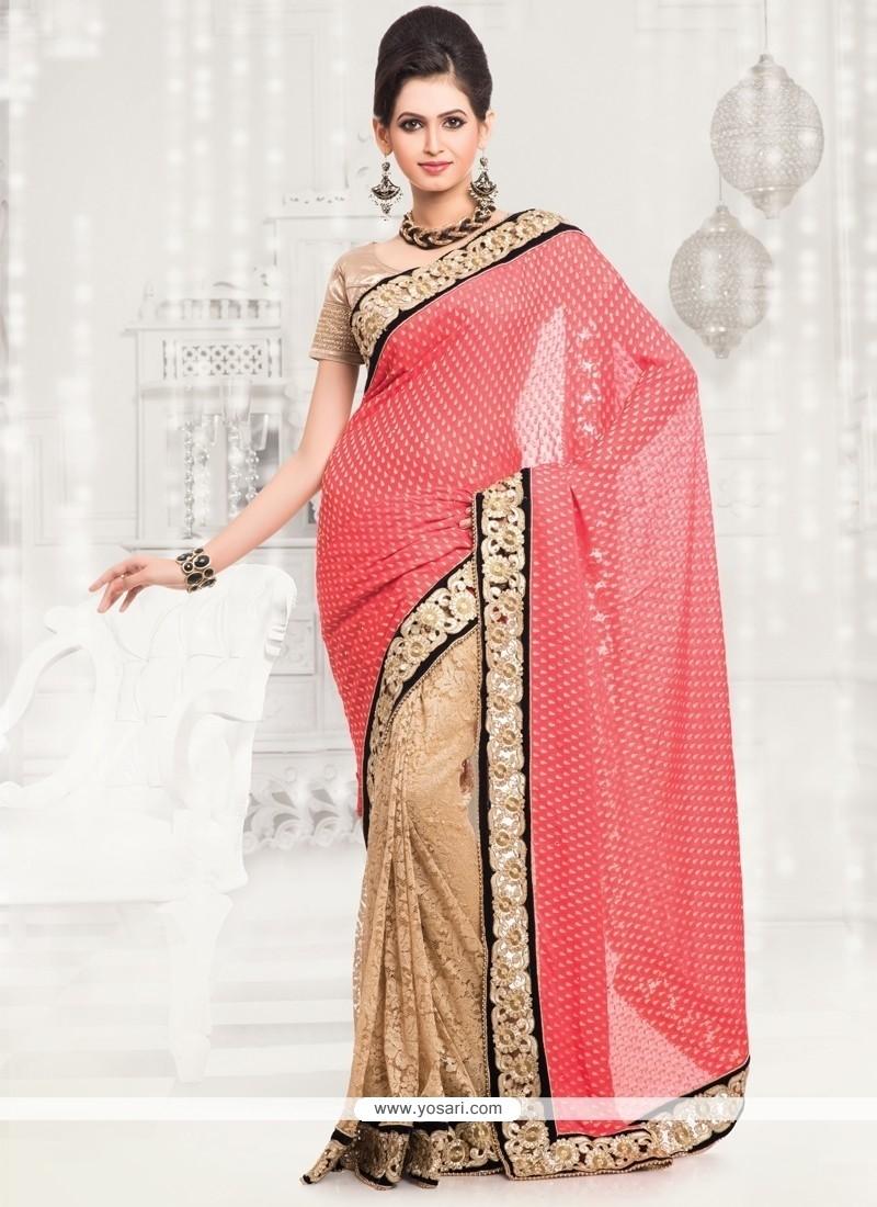 Imposing Lace Work Designer Half N Half Saree