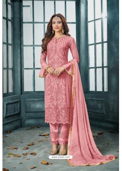 Baby Pink Latest Heavy Faux Georgette Designer Straight Suit