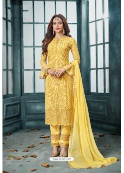 Yellow Latest Heavy Faux Georgette Designer Straight Suit