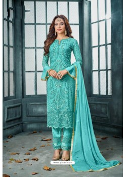 Sky Blue Latest Heavy Faux Georgette Designer Straight Suit