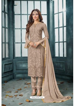Light Brown Latest Heavy Faux Georgette Designer Straight Suit