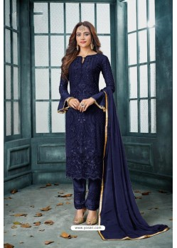 Navy Blue Latest Heavy Faux Georgette Designer Straight Suit