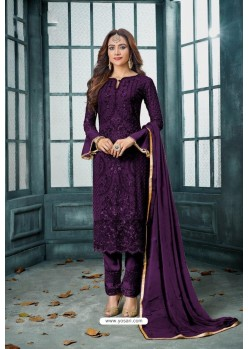 Purple Latest Heavy Faux Georgette Designer Straight Suit
