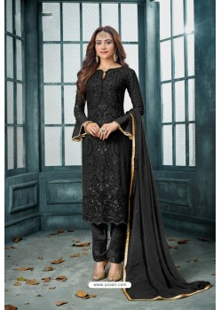 Black Latest Heavy Faux Georgette Designer Straight Suit