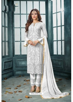 White Latest Heavy Faux Georgette Designer Straight Suit