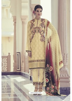 Cream Georgette Jacquard Thread Worked Designer Suit