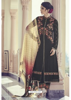 Black Georgette Jacquard Thread Worked Designer Suit