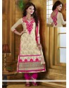 Blooming Cream And Pink Georgette Churidar Suit