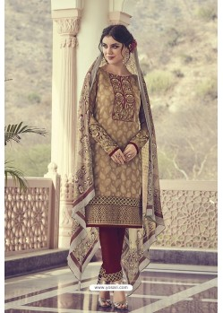 Brown Georgette Jacquard Thread Worked Designer Suit