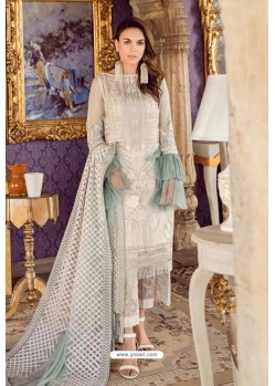 Off White Designer Pakistani Style Heavy Net Suit With Sea Green Dupatta