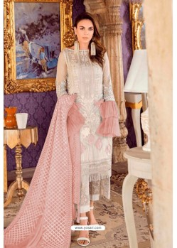 Off White Designer Pakistani Style Heavy Net Suit With Peach Dupatta
