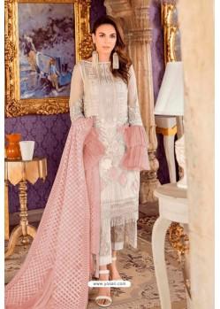 Off White Designer Pakistani Style Heavy Net Suit With Peach Dupatta