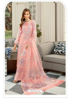 Peach Pakistani Style Heavy Net Designer Suit