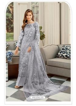 Grey Pakistani Style Heavy Net Designer Suit