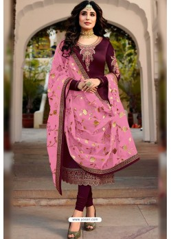 Purple Faux Georgette Designer Embroidered Churidar Suit
