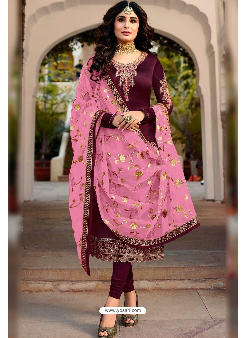 Purple Faux Georgette Designer Embroidered Churidar Suit
