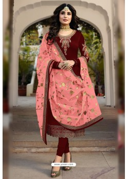 Maroon Faux Georgette Designer Embroidered Churidar Suit