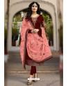 Maroon Faux Georgette Designer Embroidered Churidar Suit