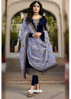 Navy Blue Faux Georgette Designer Embroidered Churidar Suit