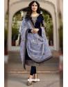 Navy Blue Faux Georgette Designer Embroidered Churidar Suit