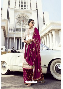 White And Pink Faux Georgette Party Wear Palazzo Suit
